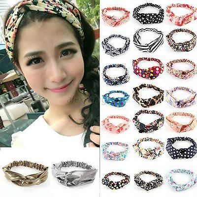 Women Girl Lovely Yoga Elastic Floral Hair Band Headband Turban Twisted Knotted