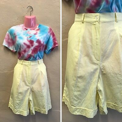 """SIZE 10– VINTAGE HIGH WAISTED SHORTS LEMON YELLOW COTTON FEEL 80s W28"""" (st4)"""