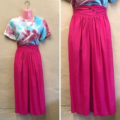 SIZE 8-10 – VINTAGE BRIGHT PINK CULOTTES TROUSERS CROPPED 1980s (st5)