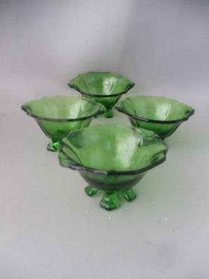ANTIQUE VTG LOT 4 CAMBRIDGE GREEN GLASS OPEN SALT or NUT FOOTED CELLAR DISH