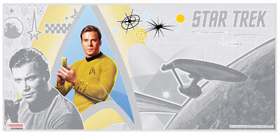 2018 Niue Star Trek Original Captain Kirk Foil Note 5 g Silver $1 Coin SKU52372