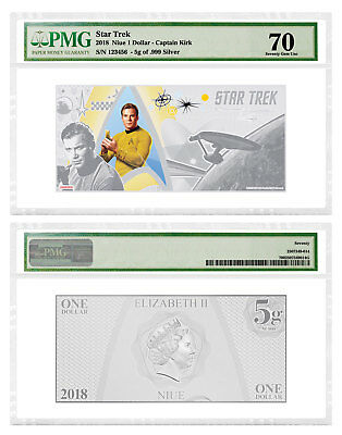 2018 Niue Star Trek Captain Kirk Foil Note 5 g Silver $1 PMG Gem Unc 70 SKU52374