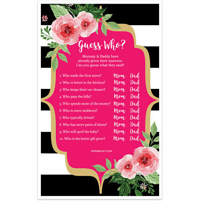 Guess Who Baby Shower Game – Black and White Striped Floral – Set of 30