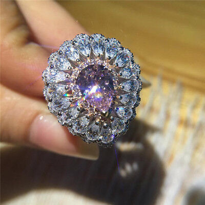 White Topaz&Amethyst 925 Silver Women Jewelry Wedding Engagement Ring Sz 6-10