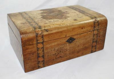 Edwardian Ladies Vanity Sewing Box Walnut Tunbridge Ware