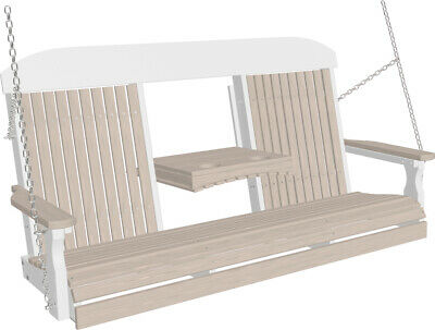 5 Foot Highback Poly Porch Swing *NATURAL WOOD GRAIN LOOK* Recycled Plastic