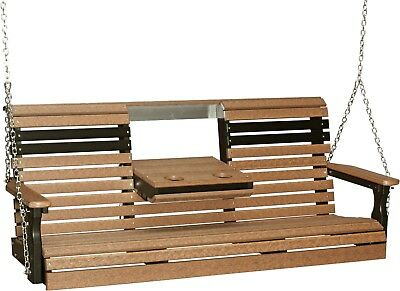 5 Foot Rollback Poly Lumber Porch  Swing *NATURAL WOOD LOOK* Recycled Plastic
