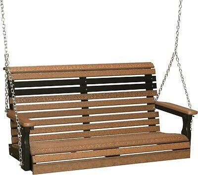 4 Ft Rollback Poly Porch Swing *NATURAL WOOD LOOK* Poly Lumber-Recycled Plastic