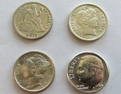 4pc Silver Dime Type Set Seated, Barber, Mercury, Roosevelt 1877,1916,1918,1964