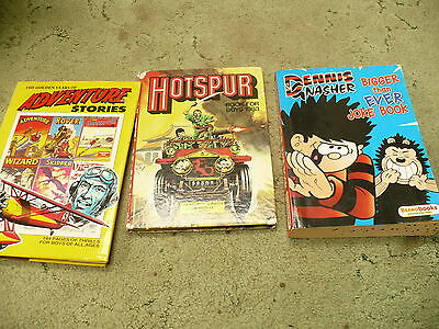3 comic annuals -The Golden age of Adventure stories/ Hotspur /Dennis & Nasher