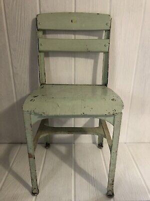 Vintage Antique Aqua Childrens Chair Chippy Paint Oak Metal Frame Shabby Childs
