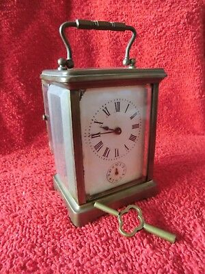 ANTIQUE FRENCH BRASS CARRIAGE CLOCK 8cms x 14cms repair/parts