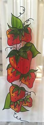 Vintage Strawberry Stained Leaded Glass Hanging Excellent Condition