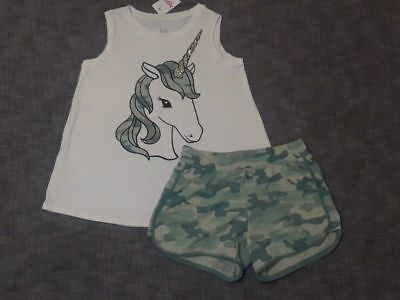 NWT Justice girls sparkly camo UNICORN swingy top dolphin shorts size 8 or 12