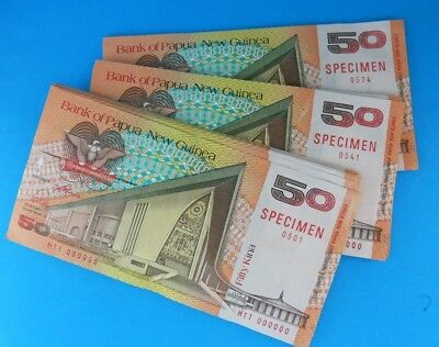 99 x Notes PAPUA NEW GUINEA 1989 SPECIMEN 50 Kina Consecutive Serial Numbers UNC