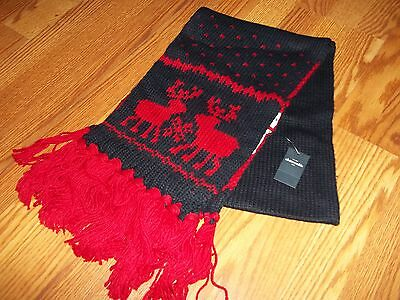 Abercrombie Kids Blue/Red Reindeer Knit Boys Girls Winter Scarf BNWT