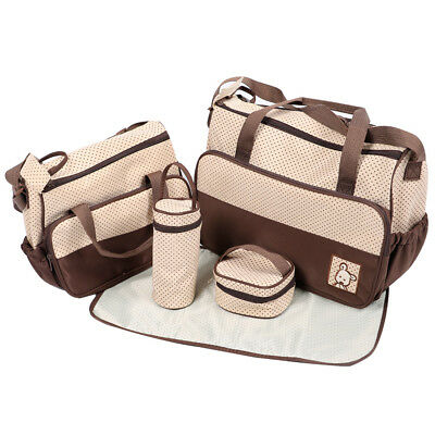 5pcs Waterproof Baby Nappy Diaper Changing Bag Set Mommy Multifunctional Handbag