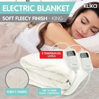 Electronic Fleecy Electric Blanket Heated Fitted King Size Bed Safety 9 Levels