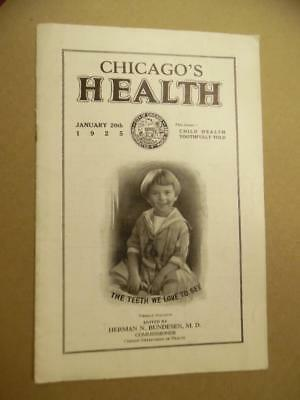 1925 CHICAGO'S HEALTH Magazine Pediatric Dentistry Issue Herman Bundesen Vintage