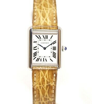 Cartier Tank Solo 2716 24mm x 30mm Stainless Steel Leather Quartz Ladies Watch