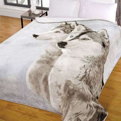 Large Wolf Husky Animal Mink Faux Fur Throw Soft Warm Fleece Blanket 200 x 240cm