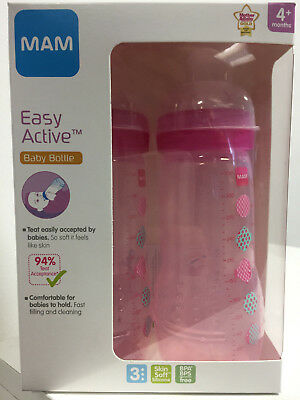 MAM Easy Active Baby Bottle Fast Flow Assorted Designs May Vary Twin Pack 330 Ml