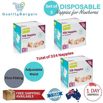 3X Pack of 108 Disposable Nappies for Newborns 0kg-5kg Jumbo Diapers Bulk Nappy
