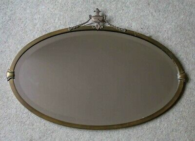 Antique Decorative Oval Brass Frame Bevelled Glass Wall Mirror c1900