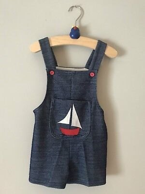 Vintage 70's Kids Toddler Short Dungarees Navy Marine Style Size 2-3 Years (98)