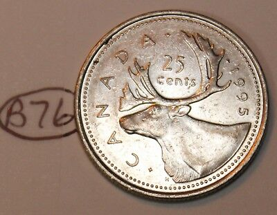 Canada 1995 25 cents Canadian Caribou Quarter Coin Lot #B76