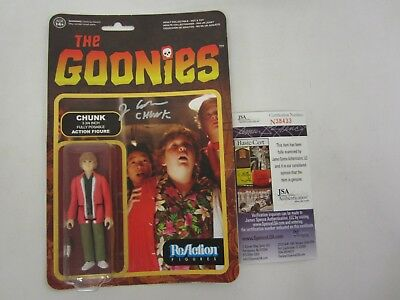 "Chunk ""Goonies"" Jeff Cohen signed autographed on card action figure JSA COA"