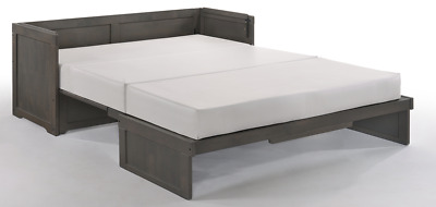 Night & Day Murphy Cube Queen cabinet bed w mattress, stonewash finish FREE S/H