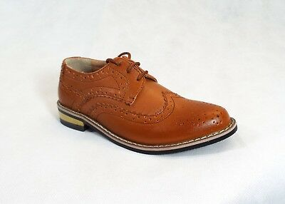 Boys Brown Brogue Lace Up Formal Shoes, Wedding Christening Occasion Wear