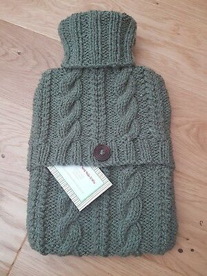Hand Knitted Aran Hot Water Bottle Cover - Khaki Green