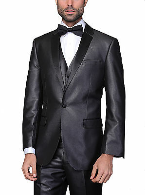 Mens Modern Fit Charcoal Textured One Button Three Piece Wool Blend Tuxedo Suit