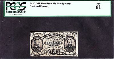US 15c Grant Sherman w/Colby Spinner Autograph spnmf FR 1273 PCGS 61CU VERY RARE