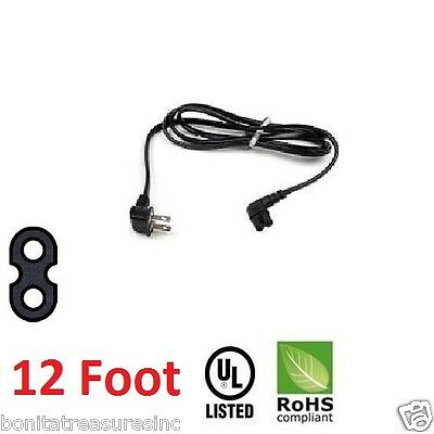 12 Foot Long Replacement Power Cord flush mount tv power cord Angled 2 prong pin