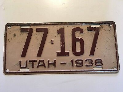 1938 Utah License Plate 100% All Original Paint 80 Years Old!!