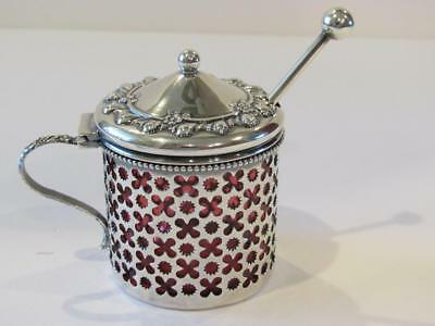 Sterling Silver Lidded & Hinged Repousee Cranberry Glass Mustard Pot & Spoon