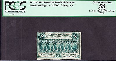 US 50c Fractional Currency Perforated w/ Monogram FR 1310 PCGS 58 appr Ch AU