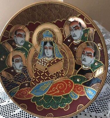 "Satsuma Plate Japanese Samurai China Porcelain 5.5"" Immortals Vntg China Ware"