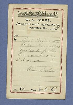 1869 WA Jones Druggist Apothecary Warrenton Missouri Prescription Receipt No 93