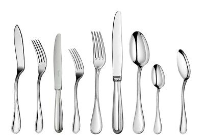 Perles by Christofle France Stainless Steel 110 piece Flatware Set 12 Dinner New