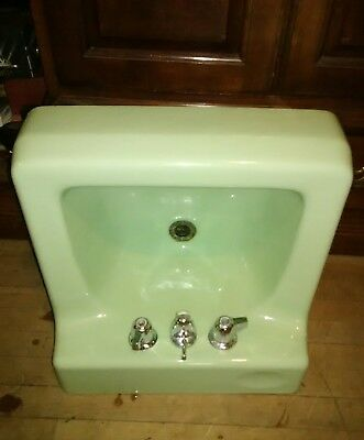 Vtg Jade Green Porcelain Cast Iron Shelf Back Sink Old Bath Salavge 10-12-67D