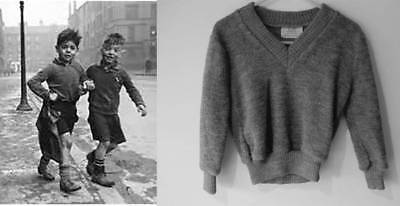 Vintage grey jumper 40's style evacuee costume world book day boys age 4