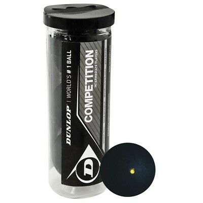 3 Dunlop Competition Squash Balls In Tube - Yellow