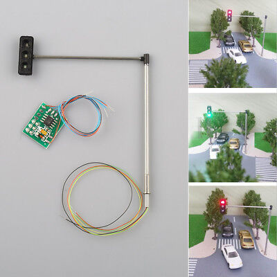 3pcs HO/OO Scale Traffic Signal LED Light Model for Street Highway Layout