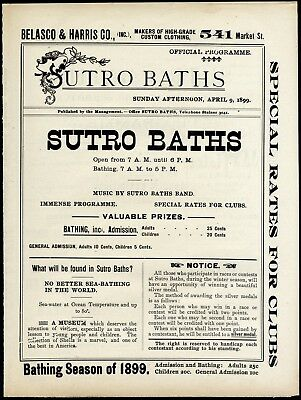 San Francisco Sutro Baths~Rare 4/9/1899 Antique Swimming & Music Events Program