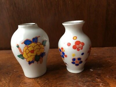 Vintage Hand Painted Miniature Small Vases White Floral