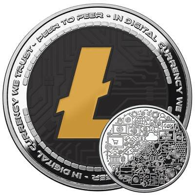 Litecoin Crypto Icon  1 Oz Pure Silver Proof Color Round Coin Anonymous Mint